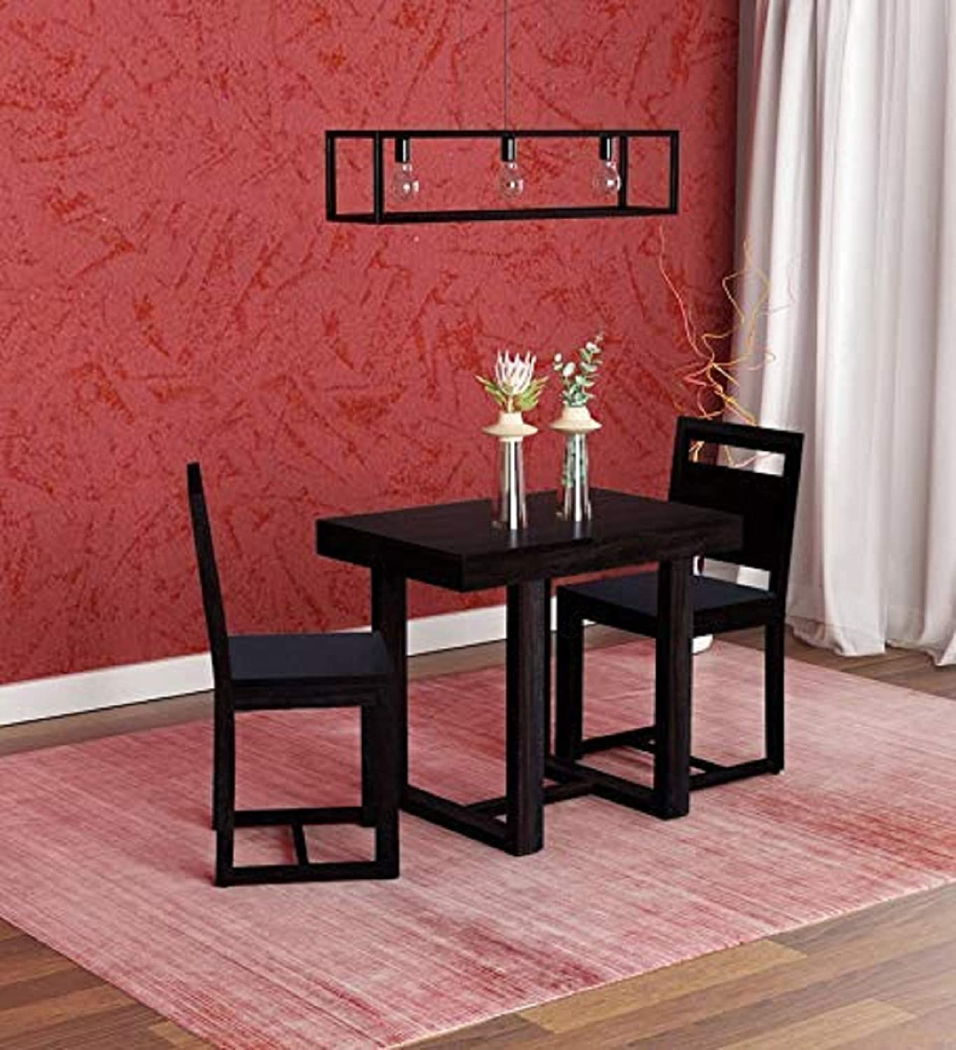 Tg Furniture Solid Wood 2 Seater Dining Table Set With 2 Chair For Dining Room Sheesham Wood Black Oak Finish Amazon In Furniture
