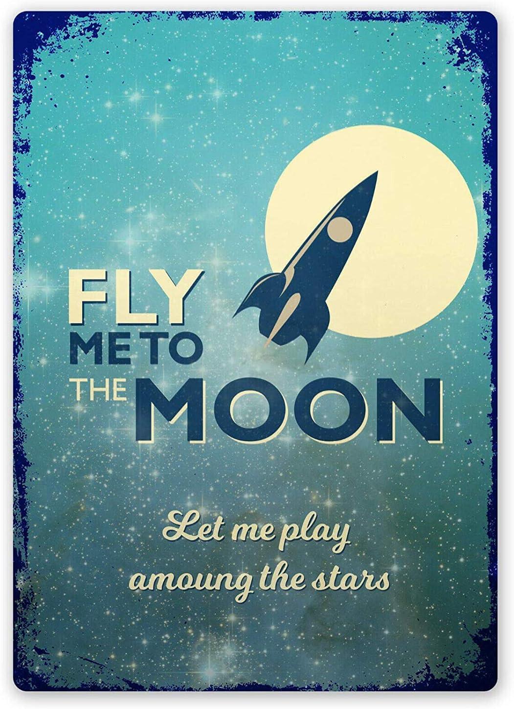 Carlena Fly Me to The Moon Plaque m/étallique Vintage en m/étal 20,3 x 30,5 cm