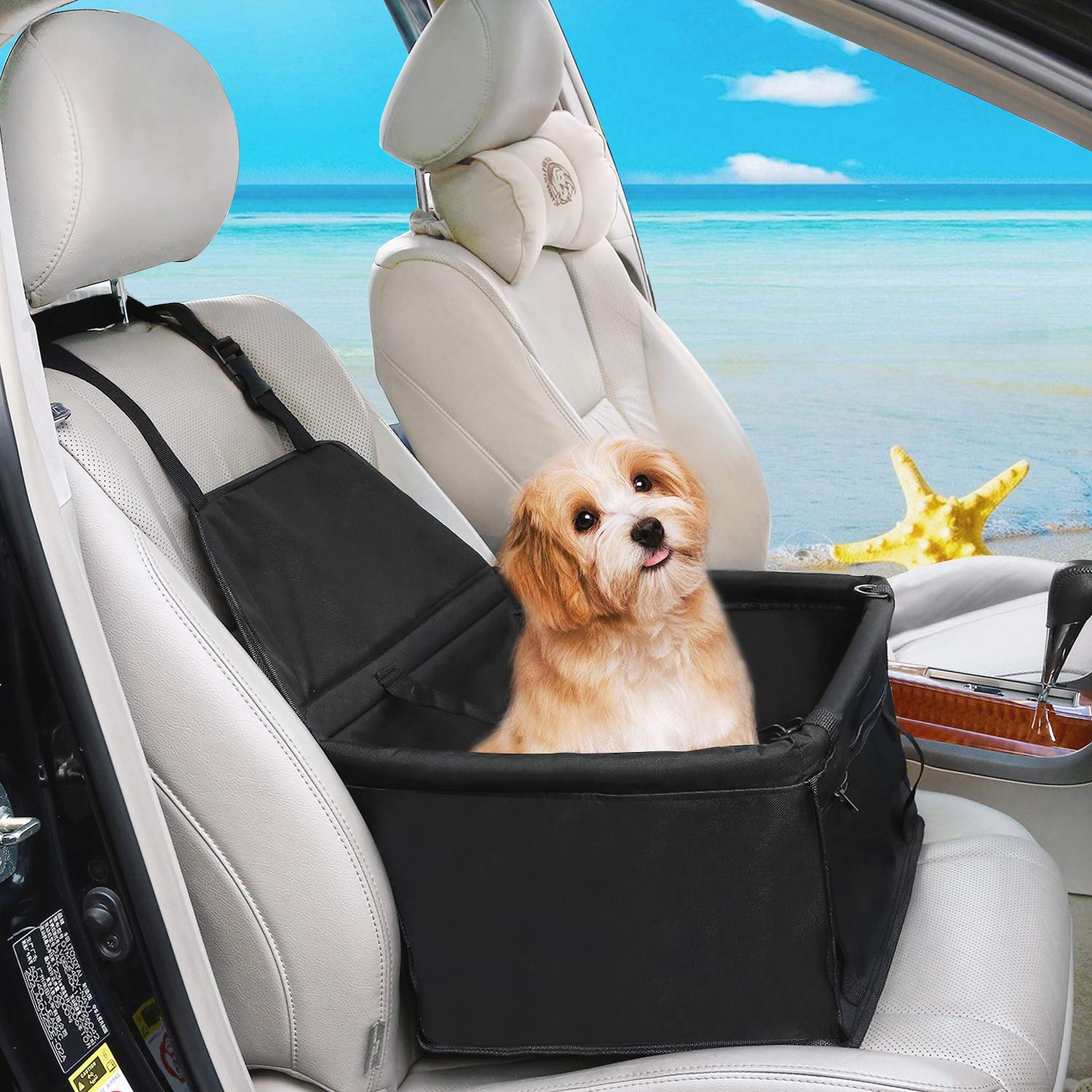 XianghuangTechnology Pet Car Booster Seat for Dog Cat Portable and Breathable Bag with Seat Belt Dog Carrier Safety Stable for Travel Gray Bone with Safety Leash and Zipper Storage Pocket