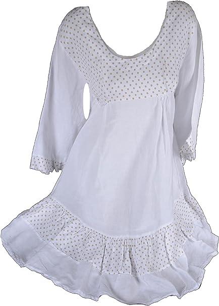 Sommer Kleid Lagenlook Strandkleid Baumwolle Streifen Gr.46  weiß beige