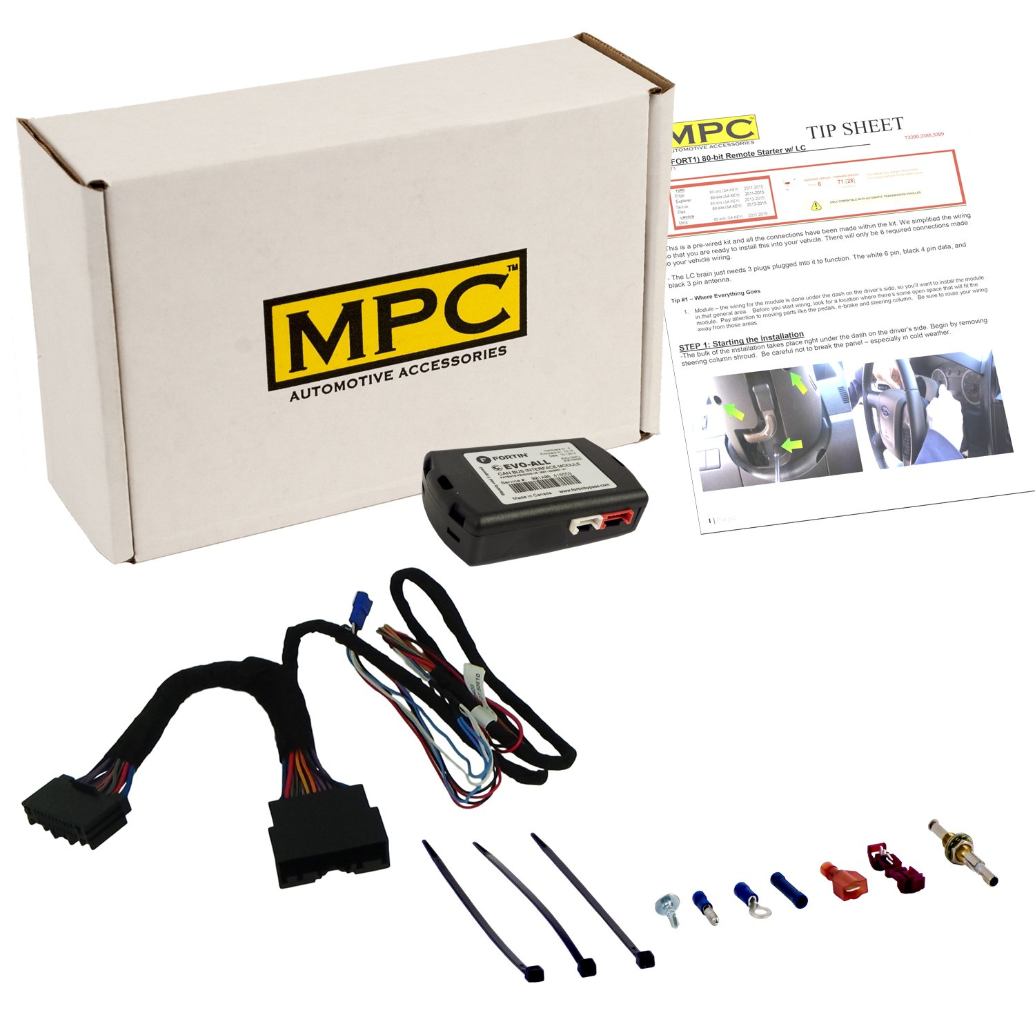 MPC Complete Plug-n-Play Factory Remote Activated Remote Start Kit for 2015-2018 Ford Edge - w/Bypass - Firmware Preloaded