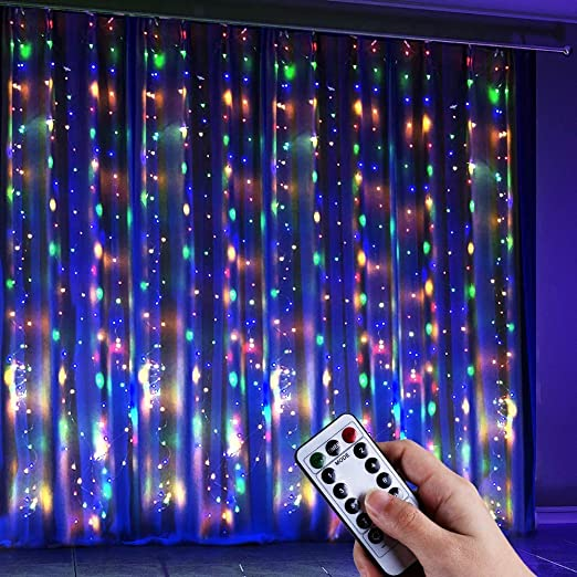 Anpro Color Changing Window Curtain String Light, Warm White & Multicolor 320LED Fairy Starry Lights USB Powered Remote & Timer Waterfall Fairy Lights for Valentine's Day, Bedroom, Weddings, Party