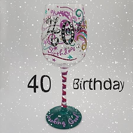 Copas De Cristal De Vino Pintadas A Mano 40 ° Cumpleaños ...