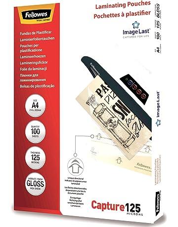 Fellowes 53074 - Pack de 100 fundas de plastificar, brillo, formato A4, 125
