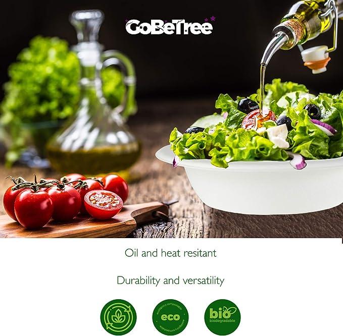 GoBeTree 60 Cuencos Desechables Biodegradable de Papel de caña de ...