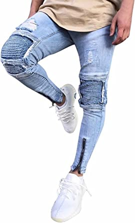 Minetom Hombre Jeans Pantalones Moda Vaqueros Rotos Slim Fit Con Parches Y Cremallera Primavera Verano Casual Cargo Pants Amazon Es Ropa Y Accesorios