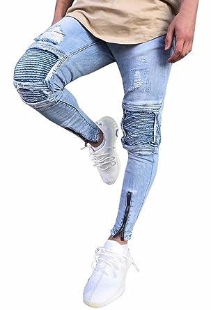 ec48b36da5 Minetom Hombre Jeans Pantalones Moda Vaqueros Rotos Slim Fit Con Parches Y  Cremallera Primavera Verano Casual Cargo Pants  Amazon.es  Ropa y accesorios