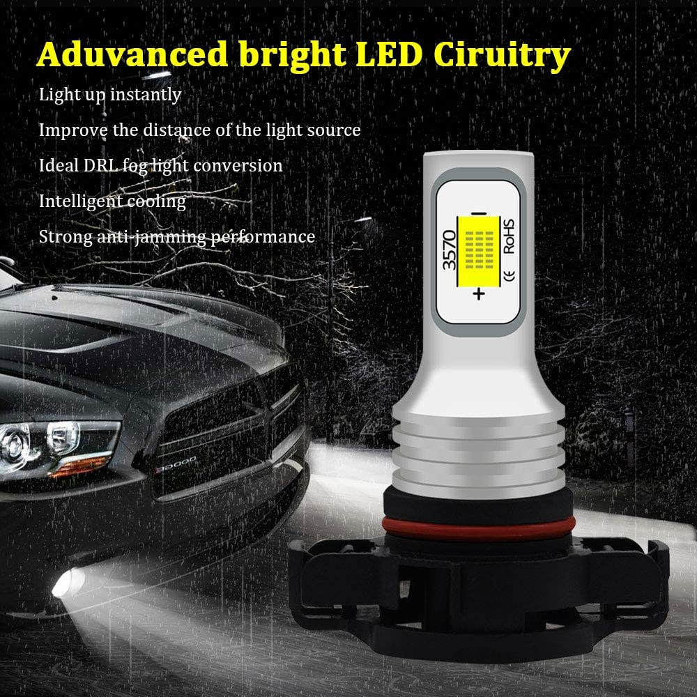 BMTxms Canbus H1 LED Bulb Fog Lights Auto Fog Light LED Fog Bulb Foglight DRL Light Led Daytime Running Lights 2Pcs H1 2SMD, White