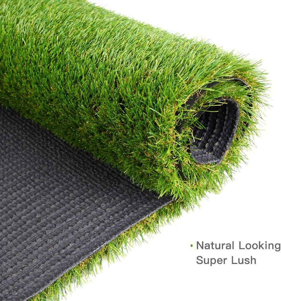 13, 6.6 Indoor//Outdoor Realistic Synthetic Fake Lawn Rug Mat for Backyard Green Pasture Artificial Grass Turf w//Drainage Holes /& Rubber Backing Landscape and Pets 1.38 Pile Height Balcony