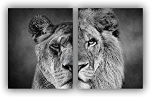 Black and White Theme Wild Animals Lioness Male lion female lion Wall Paintings Set of 2 Wall Art for Bedroom Wall Art Canvas Decoration Wall Art Print Poster for Office Living Home Decor 8X10 inches