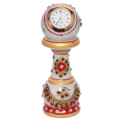 Special Dealz Items For Home Decoration New Year Gift Ethnic Design Marble Table Clock Handicraft -108