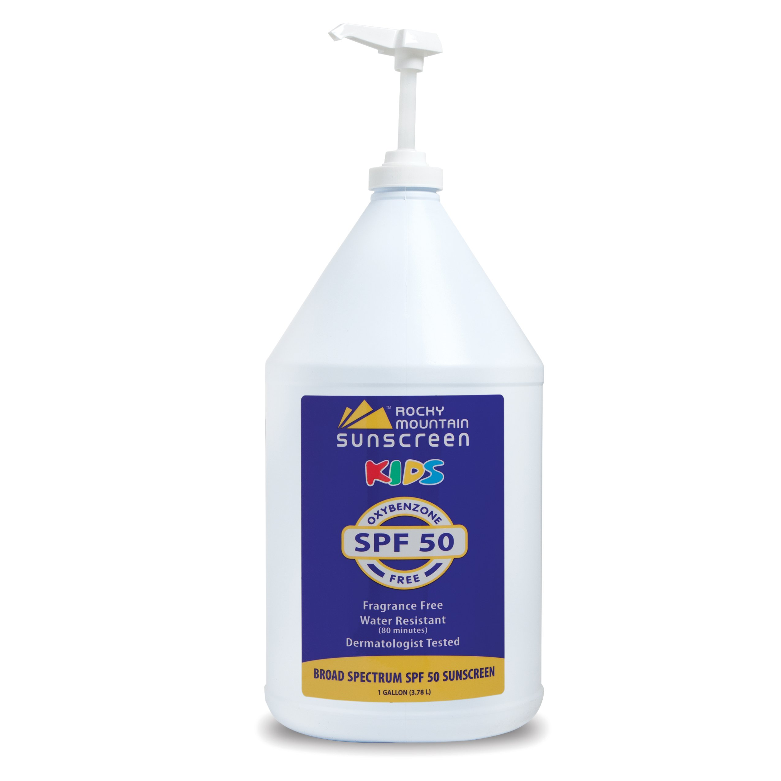 Rocky Mountain Sunscreen - Kids, Gallon, SPF 50 - Oxybenzone Free - Gluten Free - Broad Spectrum and 80 Minute Water Resistant Bulk Lotion
