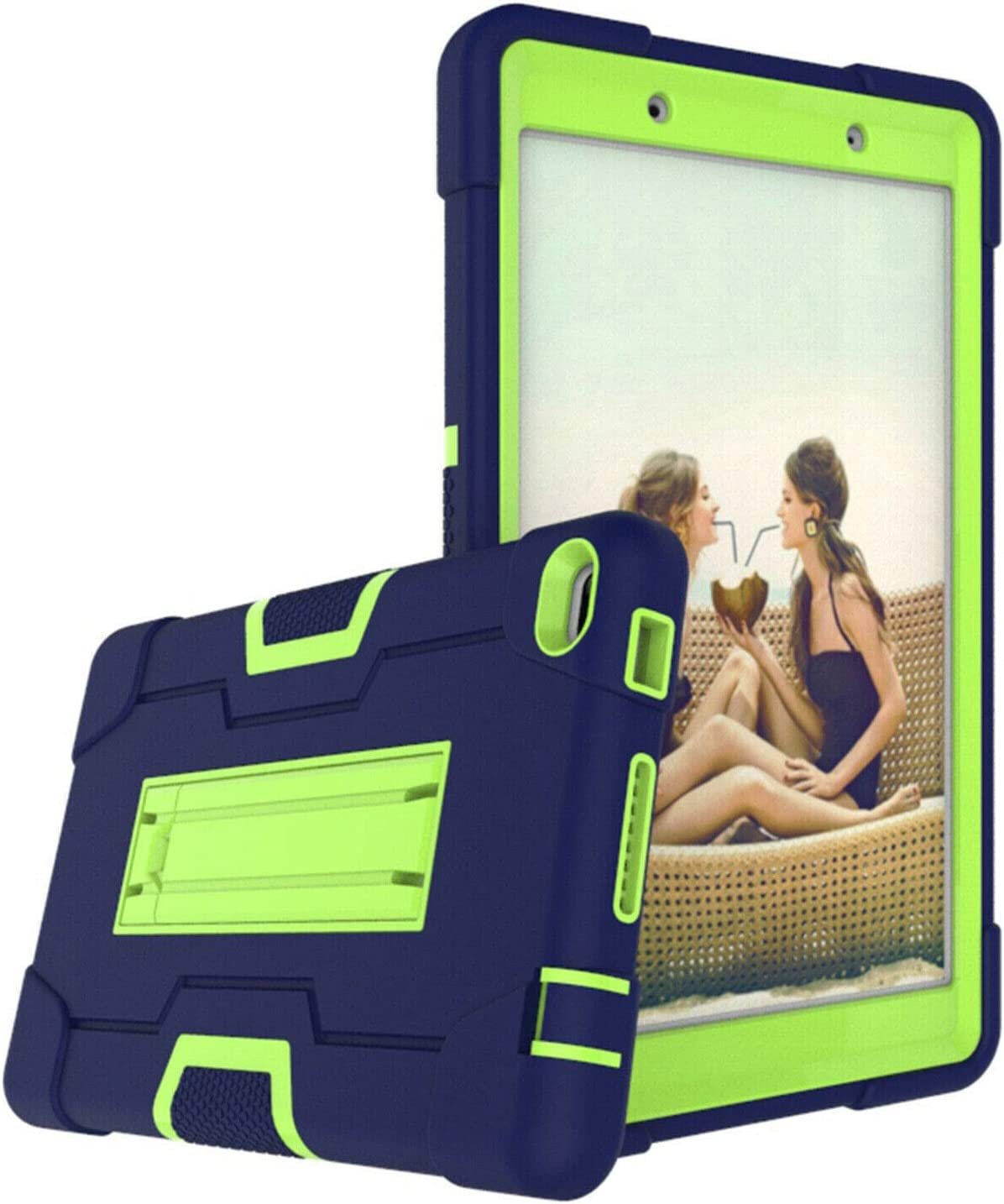 Cherrry for Lenovo Tab E8/TB8304F 8.0 Inch Tablet Case,Heavy Duty Shockproof Hybrid Rugged Hard Armor Full Body Protective Case with Built-in Stand for Lenovo Tab E8/TB8304F 8.0 Inch(Navy/Green)