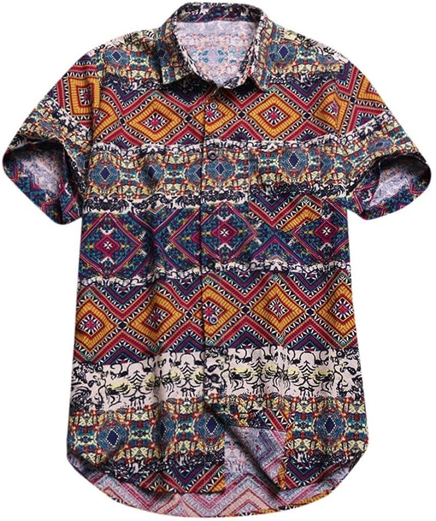 UROSA Mens Beach Large Size Shirt Hawaiian Print Lapel Tops 2019