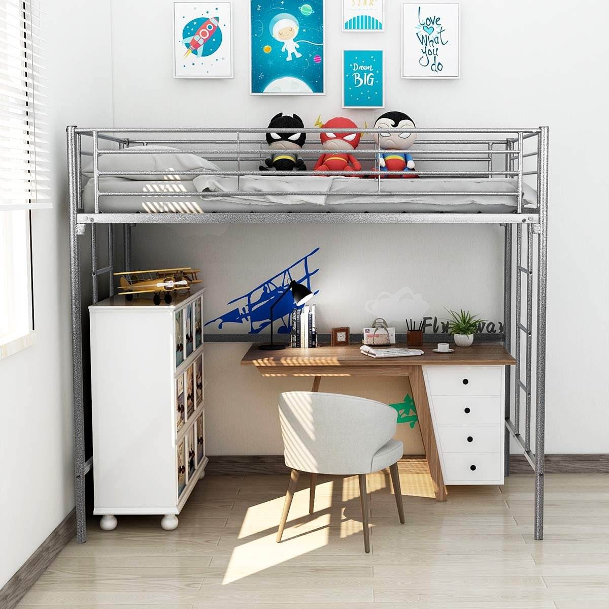 DUMEE Twin Over Loft Metal Bunk Bed with Ladder Beds Bedroom Dorm with Black Silver