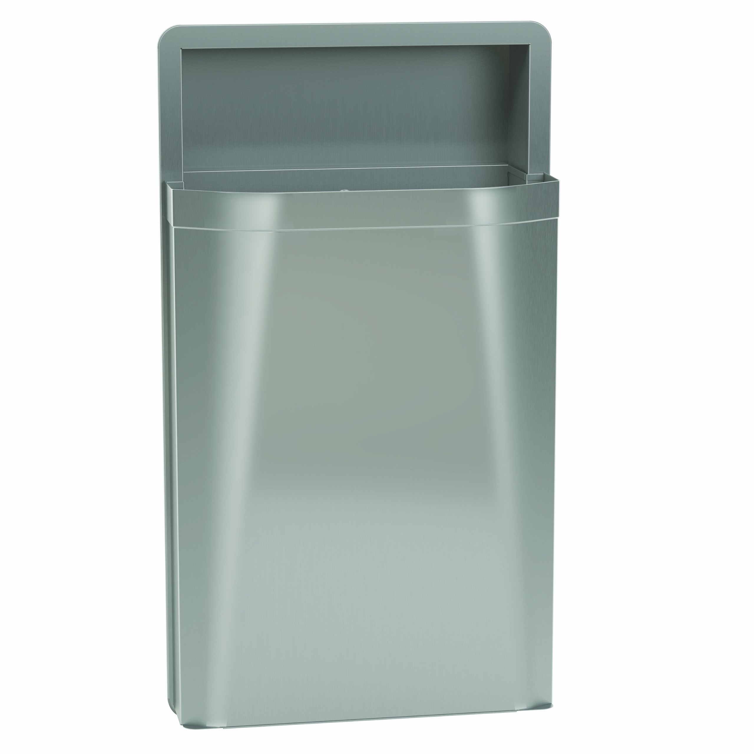 Bradley 3A05-100000 Diplomat Stainless Steel Semi-Recessed Mounted Waste Receptacle, 12 Gallon Capacity, 17-1/8'' Width x 30-5/8'' Height x 8-11/16'' Depth