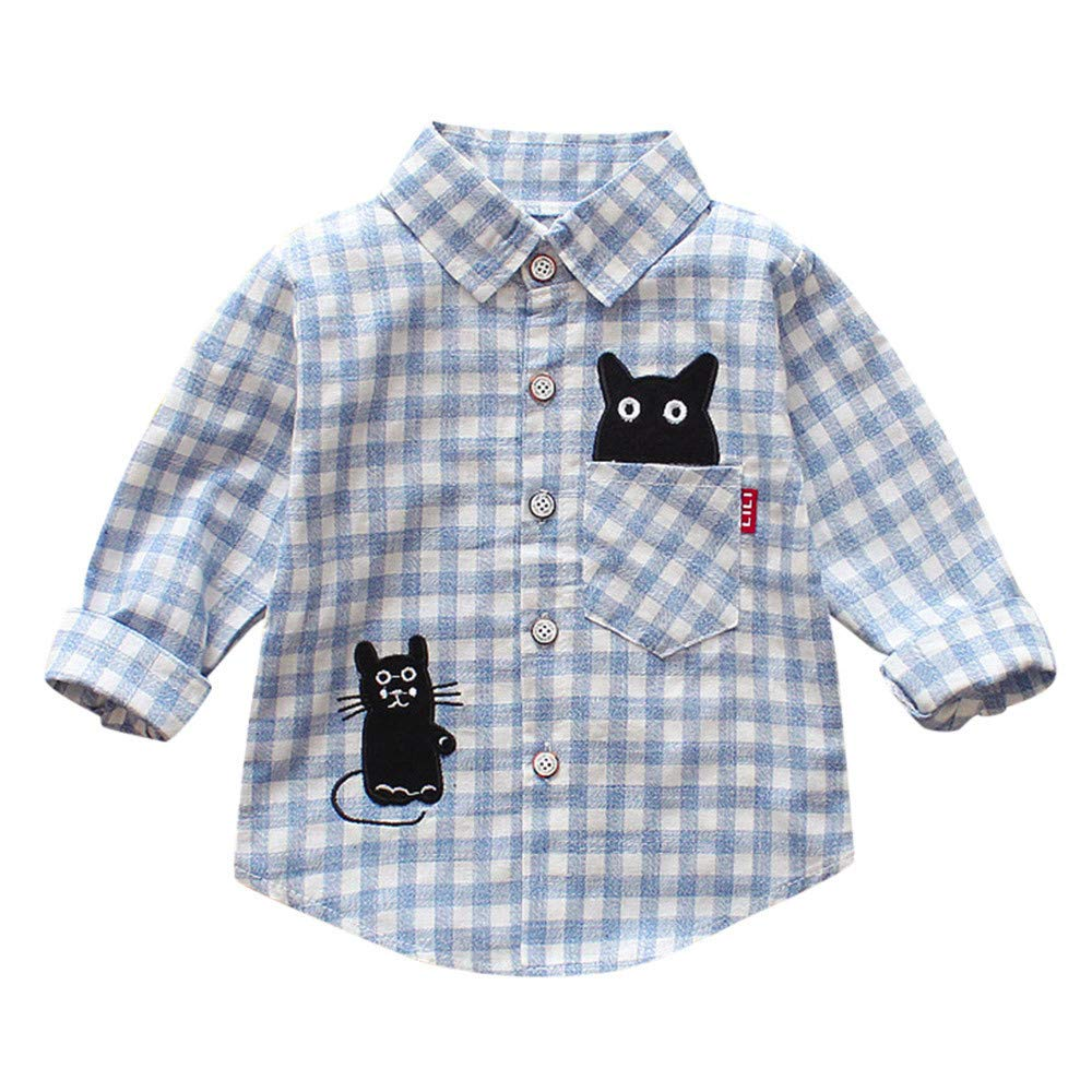 Tronet Kids Boys Girls Autumn Plaid T Shirts Long Sleeve Gentleman Tops Tie Toddler Baby Fashion Clothing (Blue, 110(Age:2-3Years))