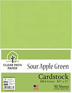 Sour Apple Green Cardstock - 8.5 x 11 inch - 65Lb Cover - 50 Sheets - Clear Path Paper