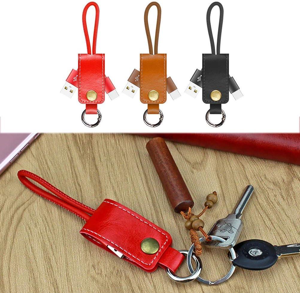 UKCOCO Cable USB de Carga r/ápida Tipo C Llavero de Cuero Cable de sincronizaci/ón de Datos de Carga Soporte de Llaves Compatible para Android marr/ón