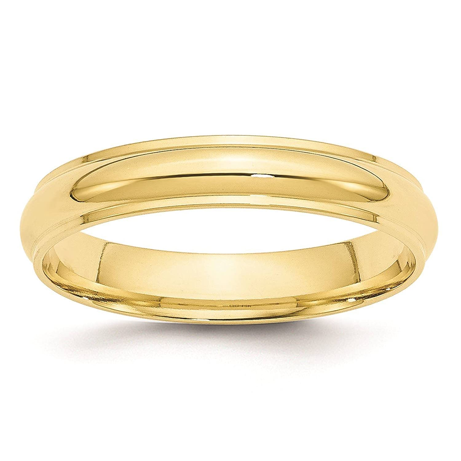 Full /& Half Sizes 10k Yellow Gold 4mm Half Round with Edge Wedding Ring Band Size 4-14