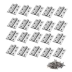 TamBee 20Pcs 1.7inch Folding Butt Hinges Cabinet Cupboard Closet Door Home Furniture Hardware Stainless Steel Silver Tone