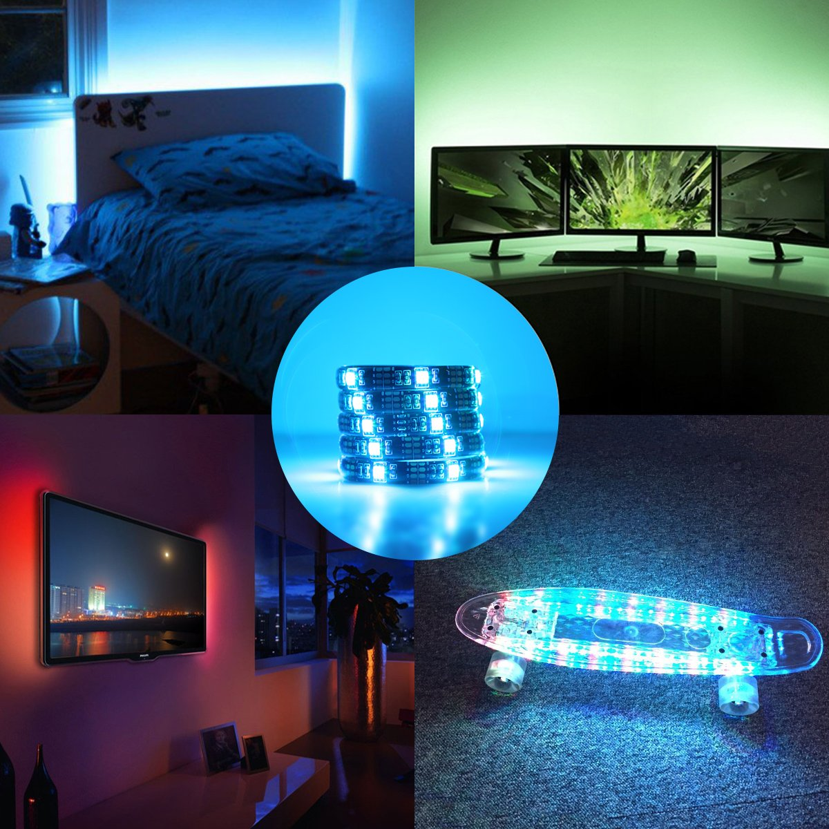 AMIR TV LED Light Strip, 30 LED TV Backlight Strip, USB Bias Monitor Lighting, Changing Color Strip Kit , Accent Light Set , Waterproof Bias Lighting For TV Desktop PC (Wireless remote controller) by AMIR (Image #3)