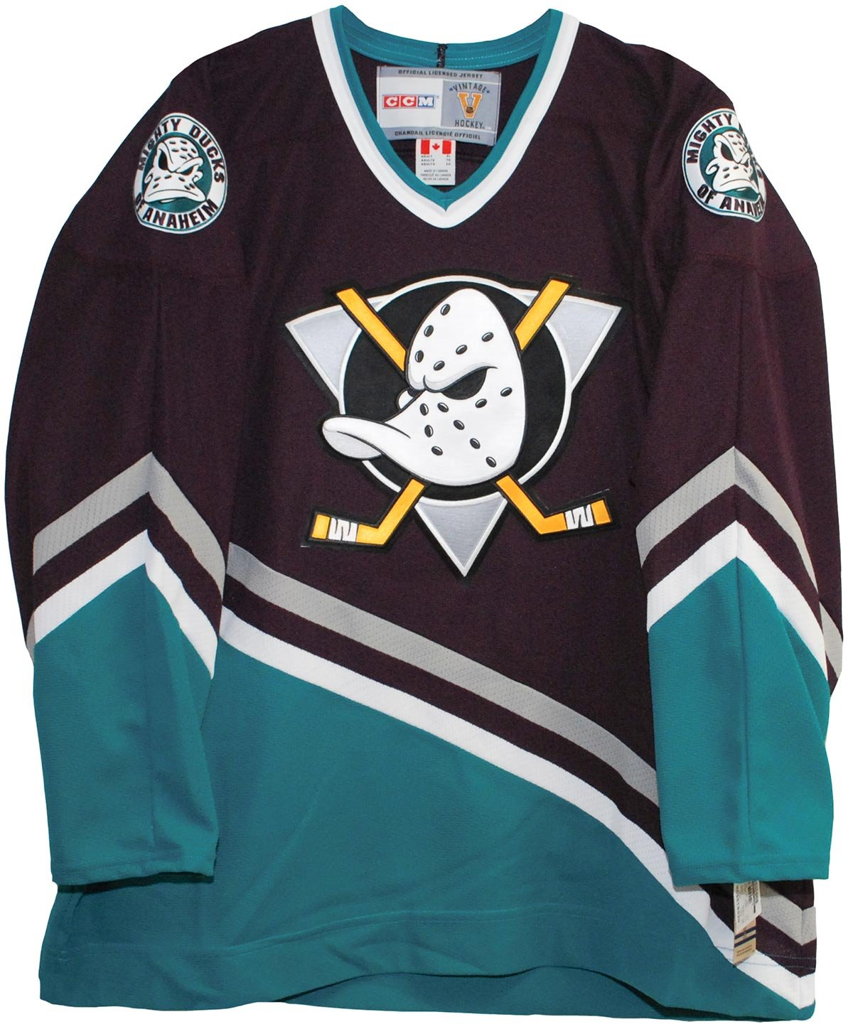 ... Throwback Jersey Amazon.com Vintage Mighty Ducks of Anaheim 1997-2003  Purple Hockey Jersey Sports Outdoors ... 71166a1e2