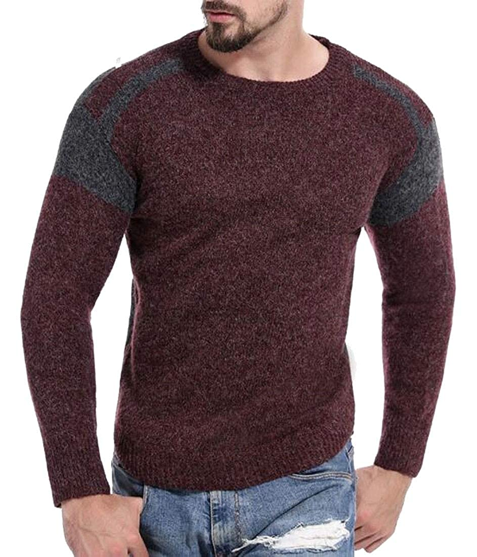 WSPLYSPJY Mens Autumn Pullover Sweaters Crew Neck Long Sleeve Knit Sweater