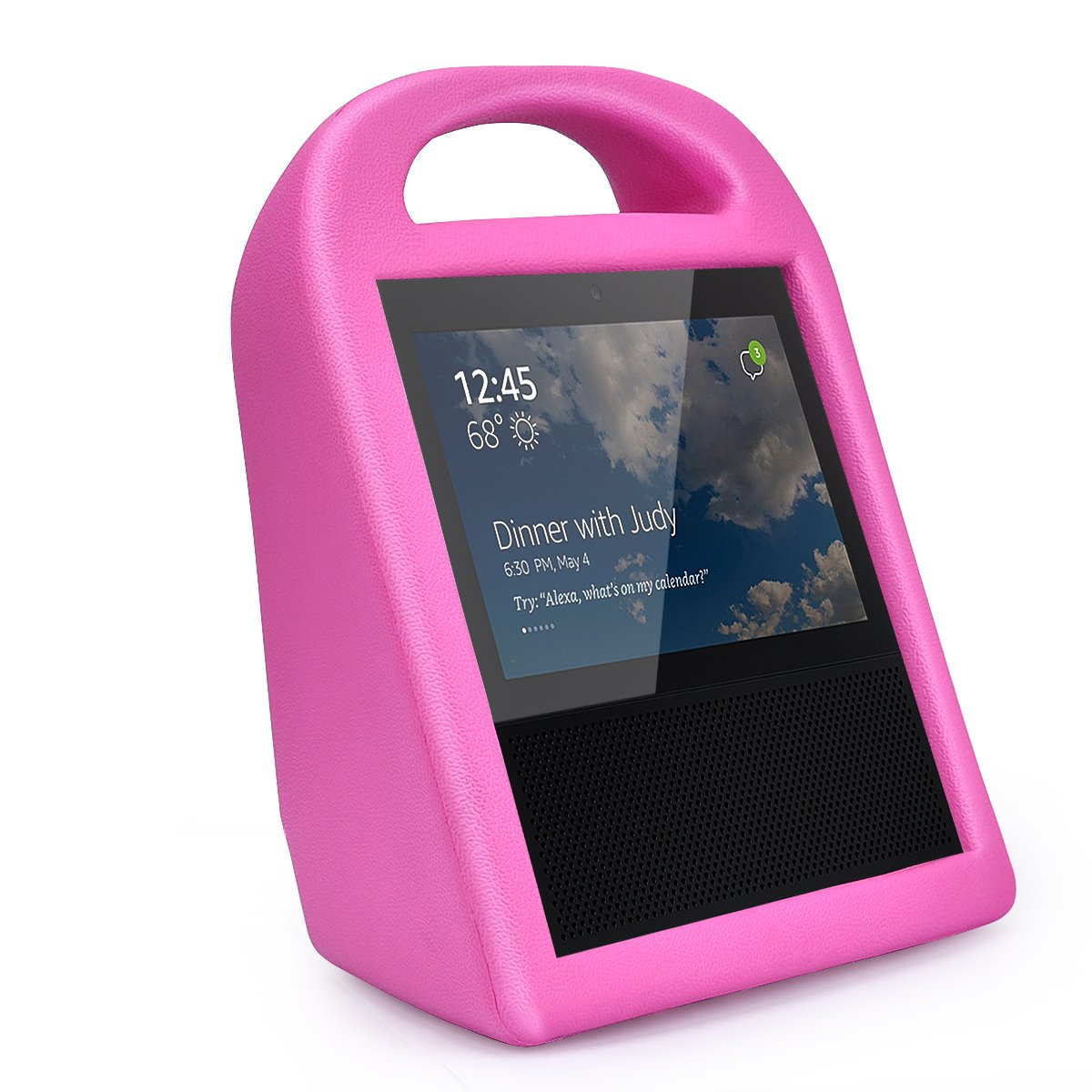 V-Moro Protective Case for Echo Show, Shock Proof Light EVA Case carrying handle Anti-Skid Protective Cover Accessory For Echo Show (Fuchsia)