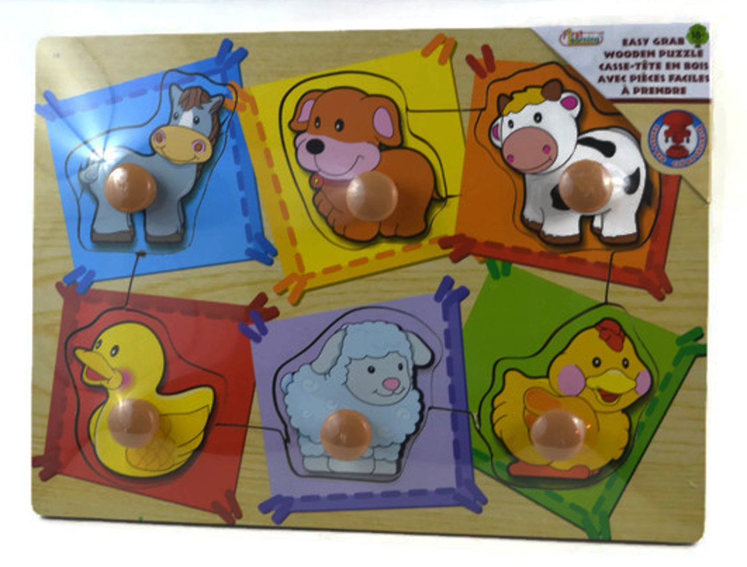Educational Learning Wooden Puzzle ~ 6 Piece Easy Grab Puzzle (Baby Animals)