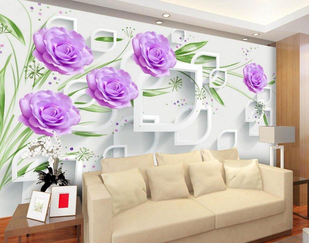 Wapel 3 リビングルーム不織の壁紙用の花の壁紙の壁の装飾が施された 3 次元の壁画壁紙 絹の布 400x280CM B078S463YM 400x280CM