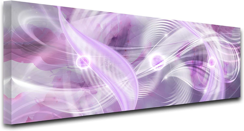 Declina, Cuadro Decorativo, Lienzo de Pared, Cuadro de salón Deco, Cuadro panorámico Abstracto hipsoe, 80 x 30 cm, Color Morado