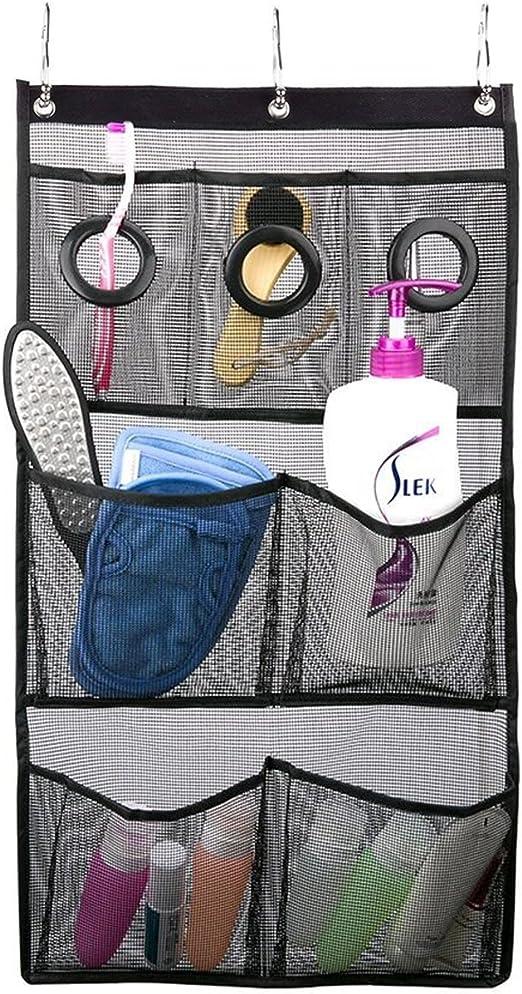 Shower Caddies Mesh Organizer Hanging Bathroom Caddy Pockets Curtain Rod With