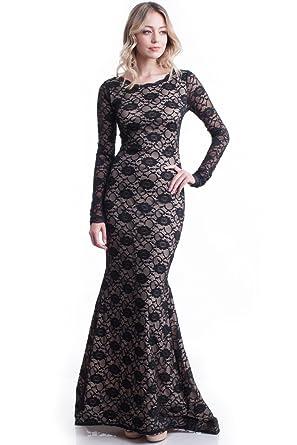b148490d1eff5 Nyteez Women's Long Black Lace Mermaid Gown Maxi Dress at Amazon ...