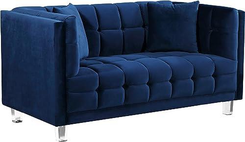 Meridian Furniture Mariel Collection Modern | Contemporary Velvet Upholstered Loveseat