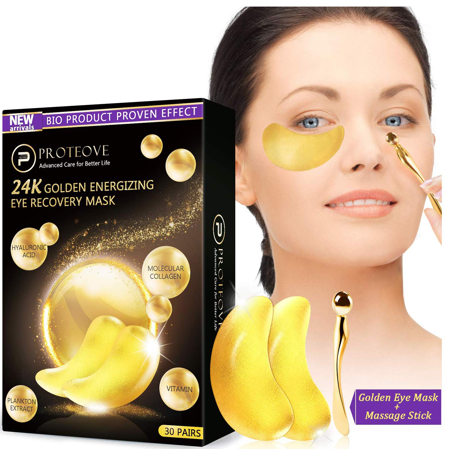 30 Pairs Gold Eye Mask - 24K Pure Nano-Active Gold Under Eye Patches, Power Crystal Gel Collagen Masks, Great for Anti Aging, Moisturizing & Reducing Dark Circles Puffiness Wrinkles by Proteove