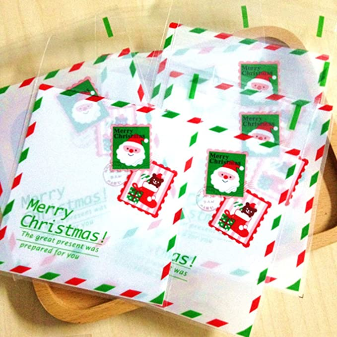 Youkara 100pcs Christmas Treat Bags Self Adhesive Cookie Bags Bakery Candy Treat Gift Diy Bags Xmas
