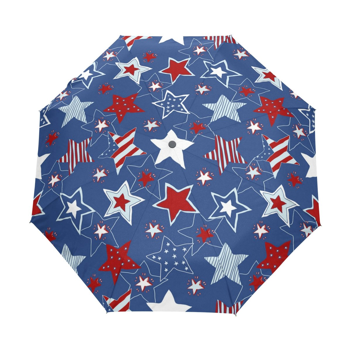 deyya Stars and Stripesシームレスなパターン防風旅行傘自動的に開く閉じる軽量コンパクトゴルフ傘 B075GMFBZP