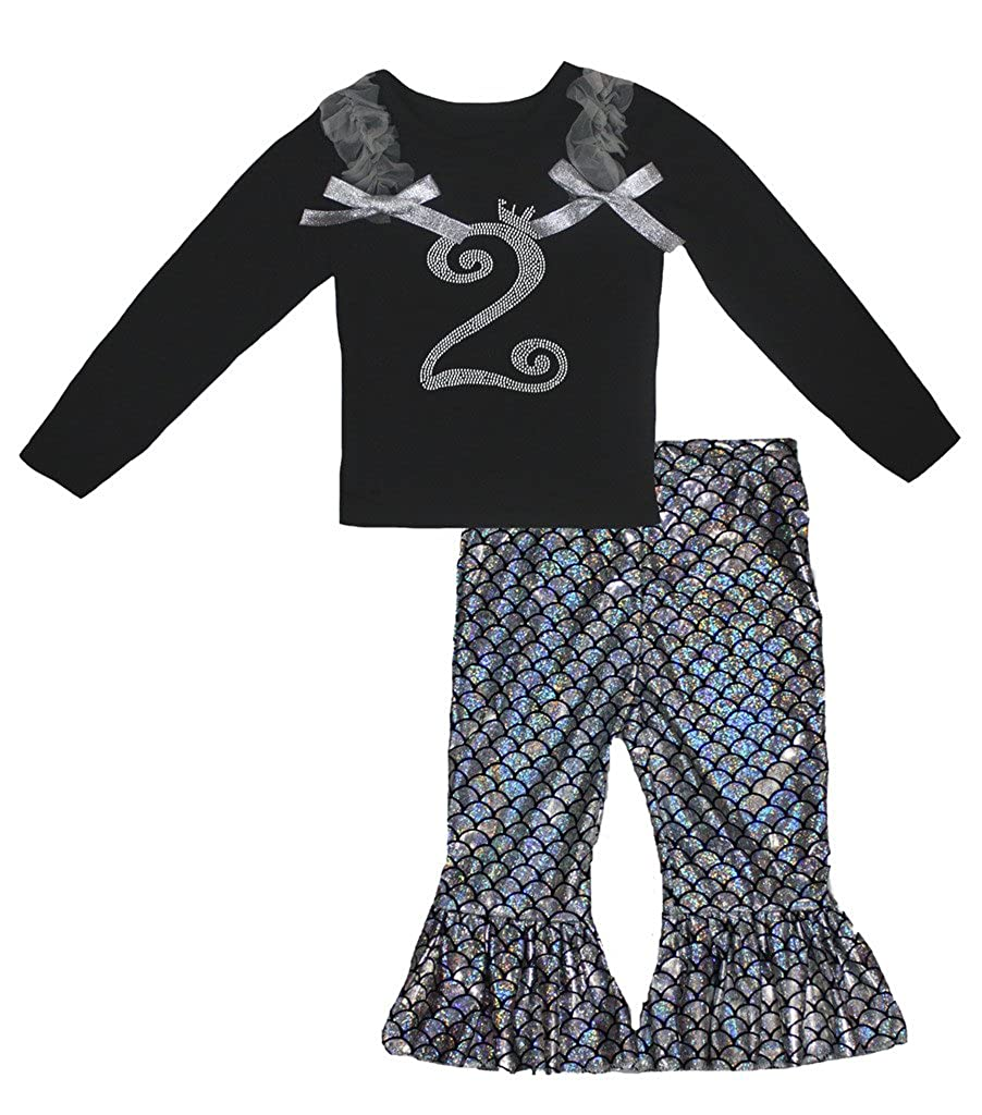 Petitebella Birthday Crown 2 Black L//s Shirt Silver Fish Scale Mermaid Pant 1-8y