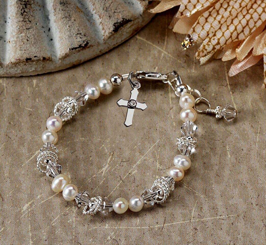 Baptism Cross Bracelet with Cultured Pearl and Crystal Childrens Sterling Silver First Communion