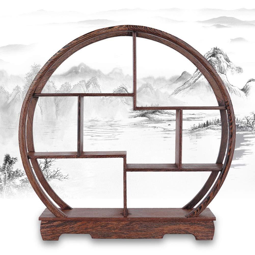 casa Intaglio Artigianato cremagliera Antico espositore Cinese Teiera espositore Artigianato antichi Ornamenti Vaso di Fiori Mensola a Muro Rotondo