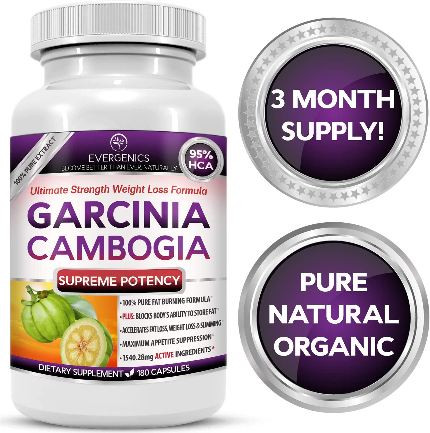 Evergenics Organic Garcinia Cambogia Extract. Fast, Natural Weight Loss for Adults. 3 Month Supply, 180 Caspsules. Ultimate Strength 95 HCA Burns Fat, Boosts Metabolism and Controls Appetite.