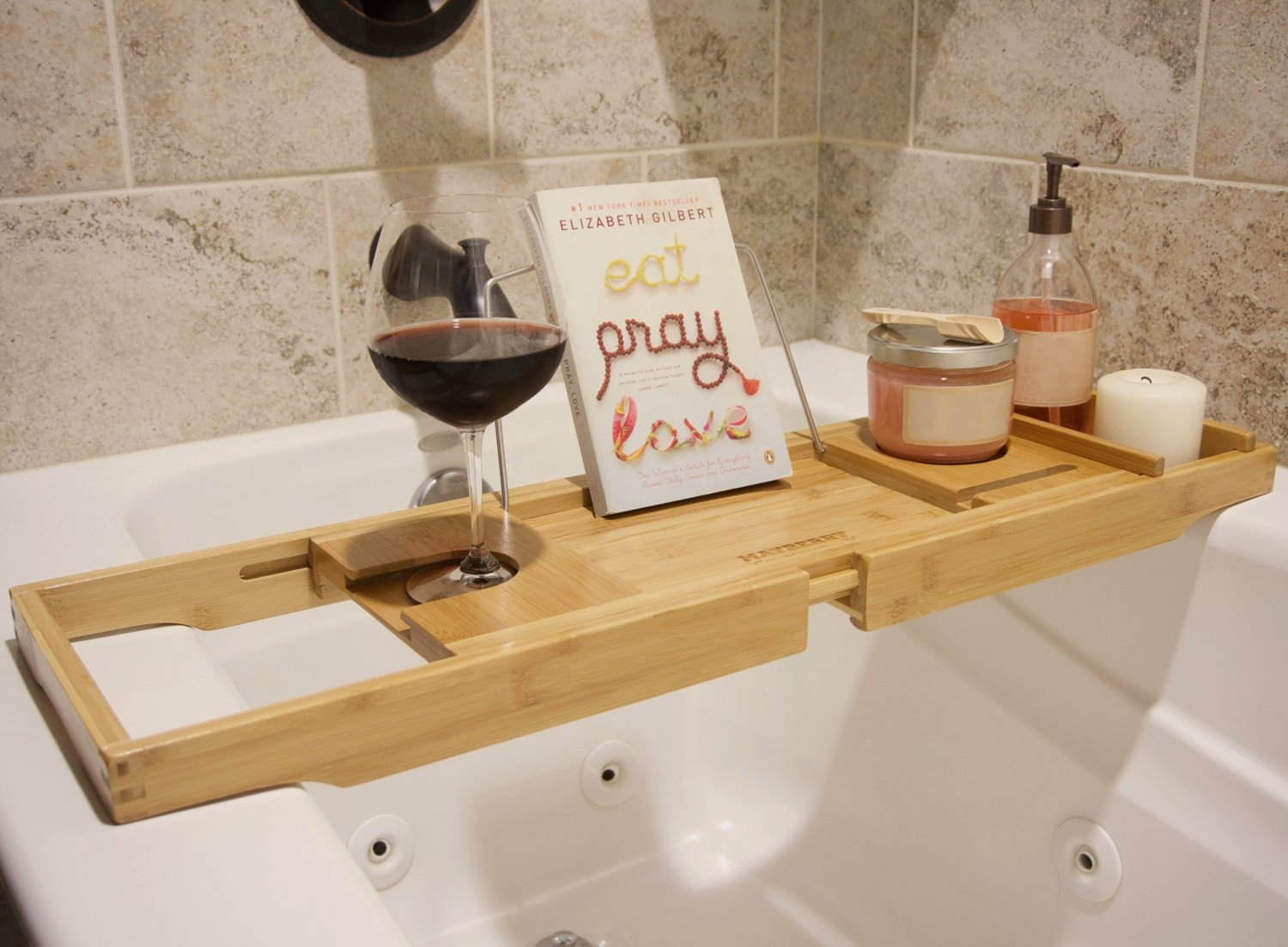 Amazon.com: Bamboo Bathtub Caddy with Arms That Extend From 29.5 Up To 43  Inches, Bathtub Tray, Large Wine Glass Holder, iPhone Slot, Collapsible  Book and ...