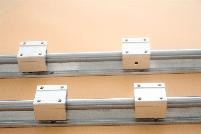 4PCS SBR25UU Bearing Block US Stock CHUANGNENG 2PCS SBR25 600MM Linear Fully-Supported Rail