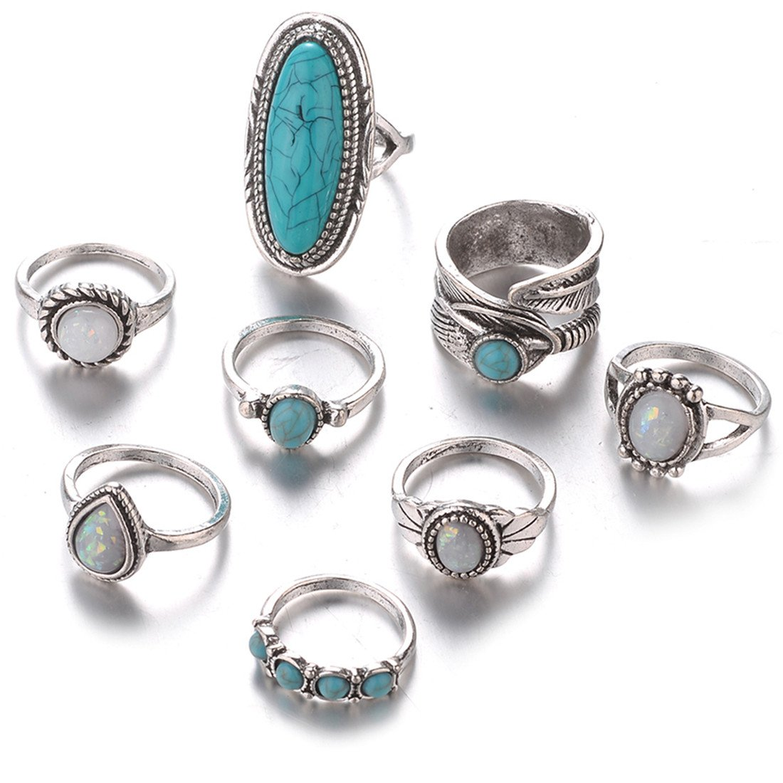 Yingwei VWH 8 Pcs Argent Turquoise Opale Anneaux Set Pierre Naturelle Anneau de Bijoux Rétro Femmes Bijoux Accessoires