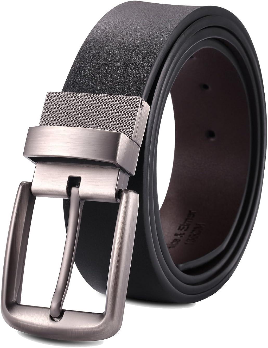 Alice & Elmer Cinturón Cinturones De Cuero Reversible Hebilla Giratoria para Hombres