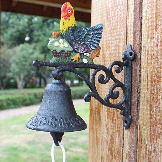 Adornos al Aire Libre para el jardín Timbre Campanas de Mano decoración de Pared de jardín de Hierro Forjado@Timbre pequeño de gallina: Amazon.es: Jardín