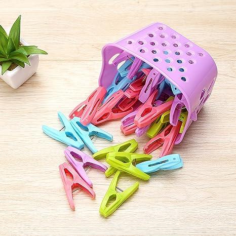 Smartrich Juego DE 30 Pinzas Creativas de plástico para Colgar Ropa, Pinzas para Toallas de