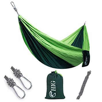 hig outdoor camping hammock   double parachute lightweight nylon portable hammock with wtraps  u0026 carabiners for amazon    hig outdoor camping hammock   double parachute      rh   amazon