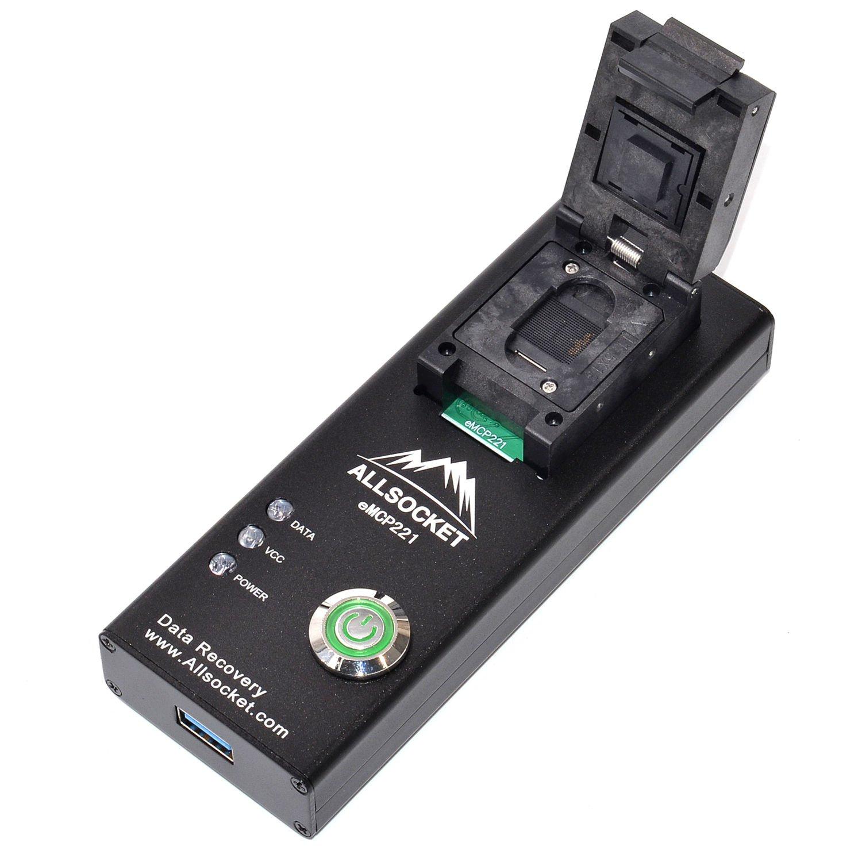 BGA221 Memory Flash Adapter, ALLSOCKET eMCP221-USB3.0 Socket FBGA221 Reader NAND FLASH Memory Samsung LG Nokia Mobile Chip-off Data Recovery Programming Nand Flash(BGA221 Package Reader)